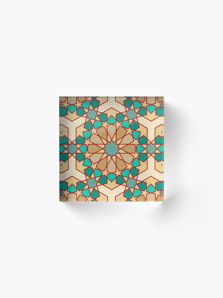 Alternate view of Geometric Pattern: Arabic Tiles: Turquoise Acrylic Block