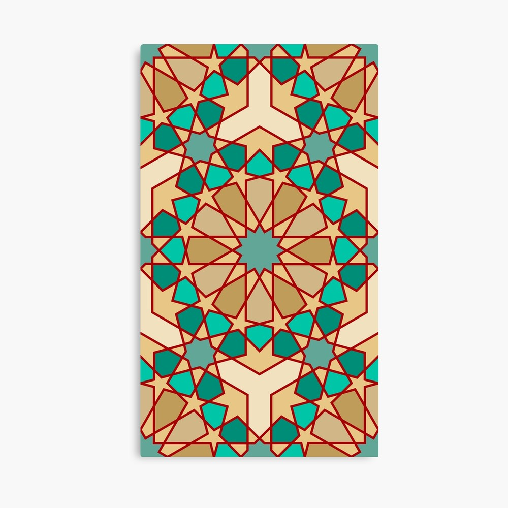 Geometric Pattern: Arabic Tiles: Turquoise Canvas Print