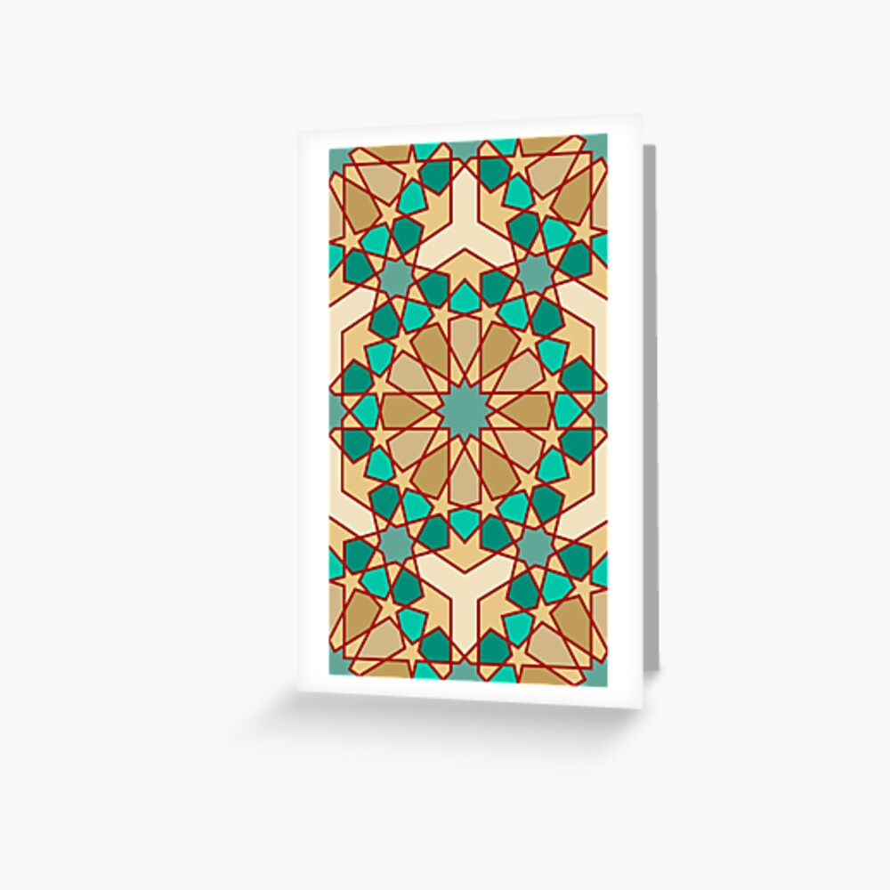 Geometric Pattern: Arabic Tiles: Turquoise Greeting Card