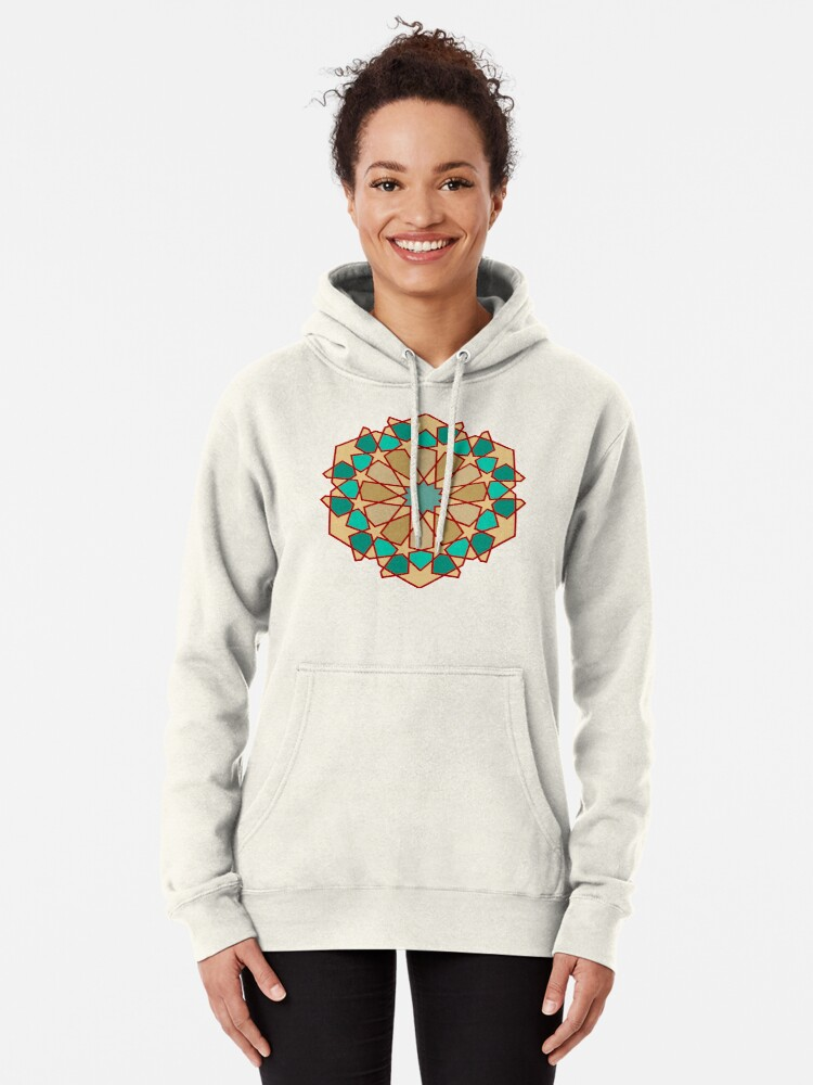 Alternate view of Geometric Pattern: Arabic Tiles: Turquoise Pullover Hoodie