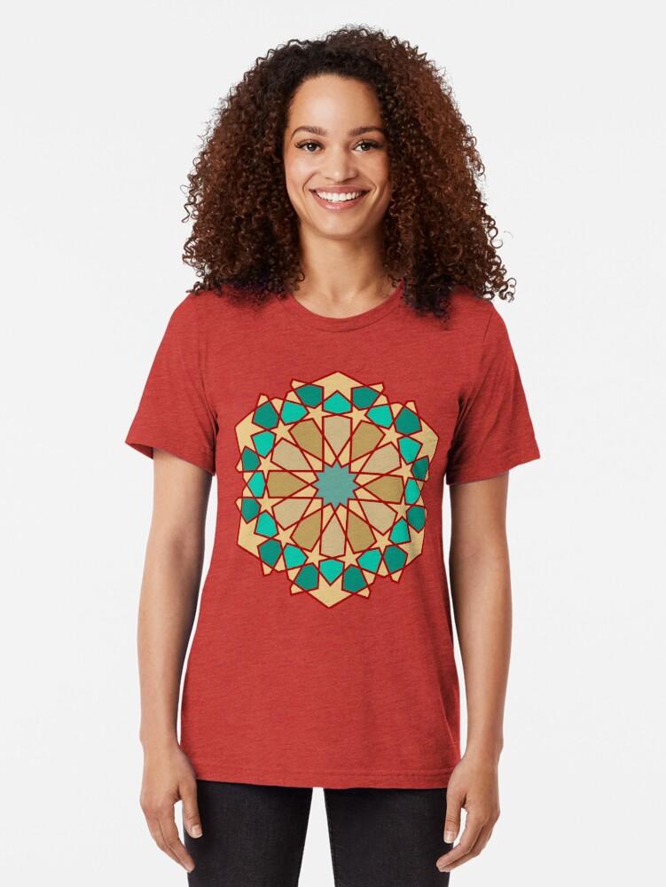 Alternate view of Geometric Pattern: Arabic Tiles: Turquoise Tri-blend T-Shirt