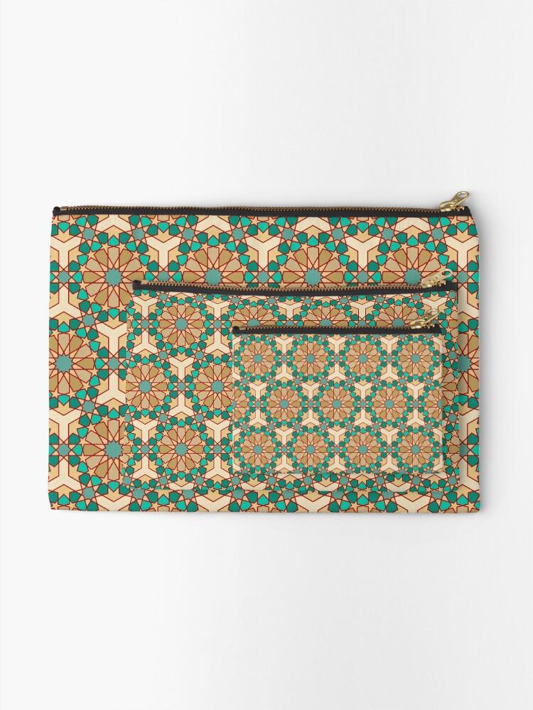 Alternate view of Geometric Pattern: Arabic Tiles: Turquoise Zipper Pouch