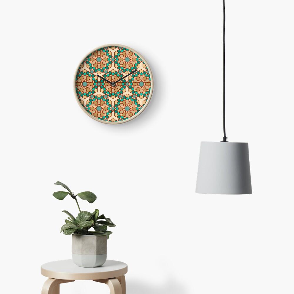 Geometric Pattern: Arabic Tiles: Turquoise Clock
