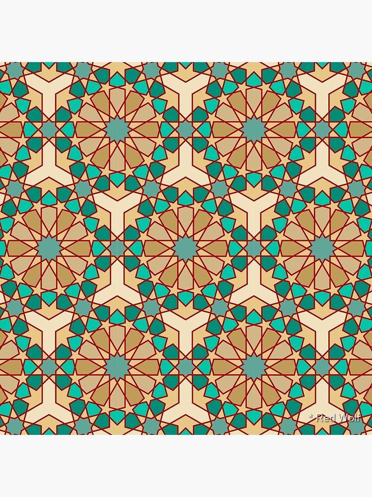 Geometric Pattern: Arabic Tiles: Turquoise by redwolfoz