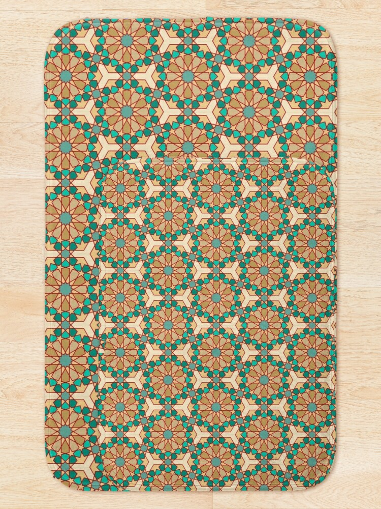 Alternate view of Geometric Pattern: Arabic Tiles: Turquoise Bath Mat