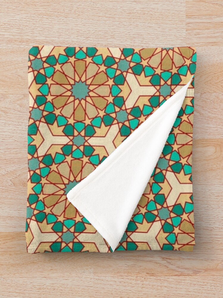 Alternate view of Geometric Pattern: Arabic Tiles: Turquoise Throw Blanket