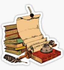 Vintage old books and parchment Glossy Sticker
