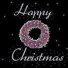 Happy Christmas Wreath Card by Bernie Stronner