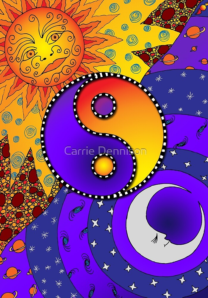 Yin Yang - Sun and Moon by Carrie Dennison