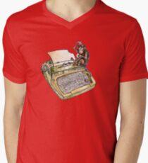 Typewriter Monkey V-Neck T-Shirt