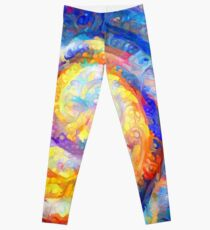 Abstract segmentation of phoenix Leggings