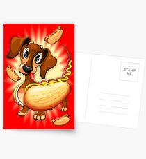 Dachshund Hot Dog Cute and Funny Character Postcards