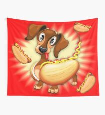 Dachshund Hot Dog Cute and Funny Character Wall Tapestry