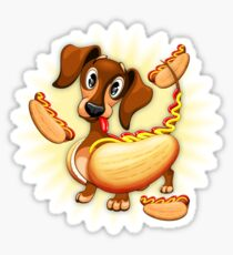 Dachshund Hot Dog Cute and Funny Character Sticker