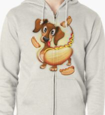 Dachshund Hot Dog Cute and Funny Character Zipped Hoodie