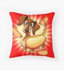 Dachshund Hot Dog Cute and Funny Character Throw Pillow