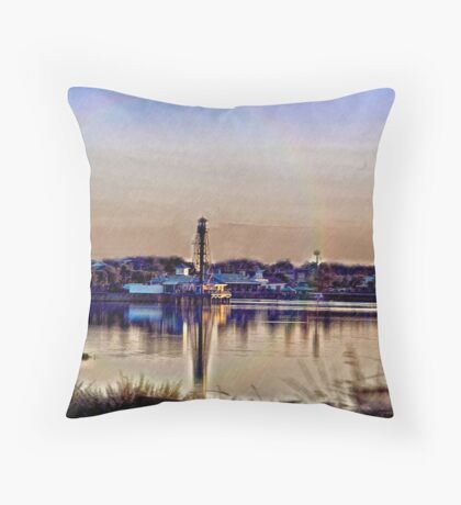 Rainy Day At The Lighthouse Throw Pillow