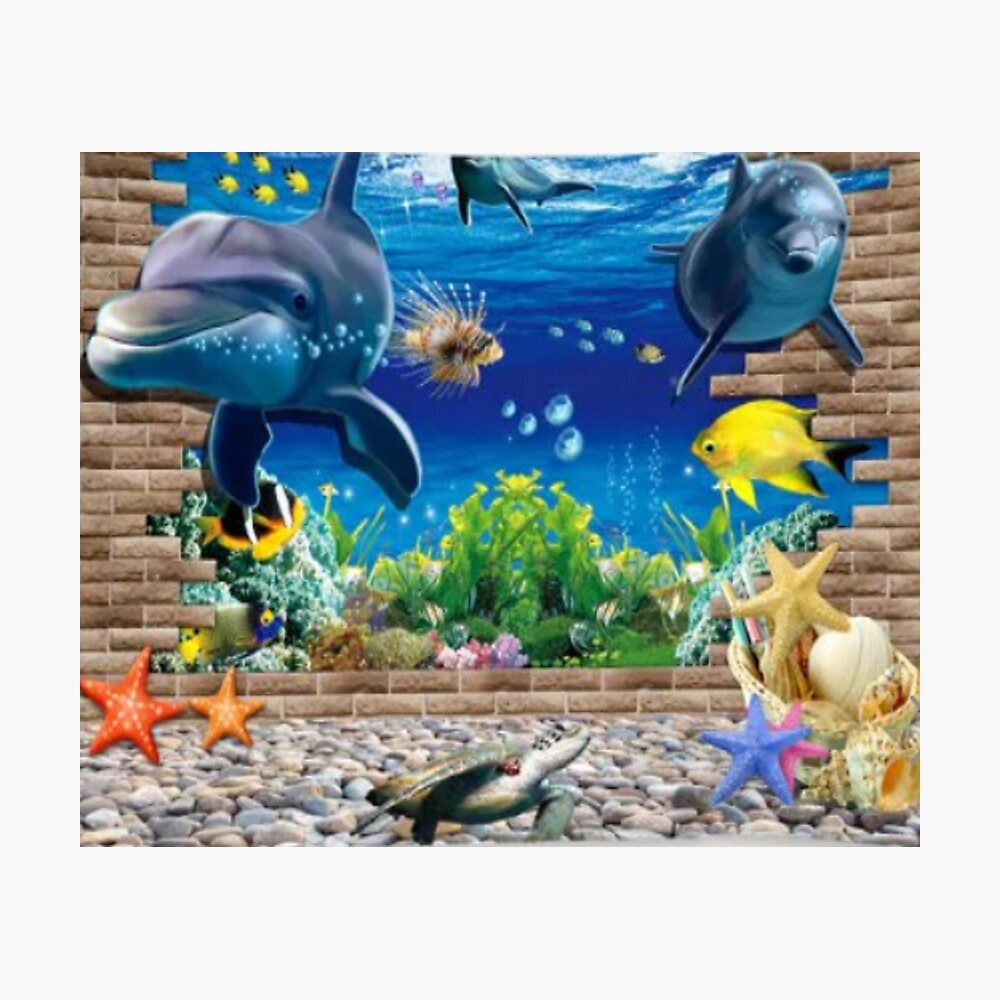 Wall Hanging/Throw 3D Dolphins and Brick Wall Photographic Print