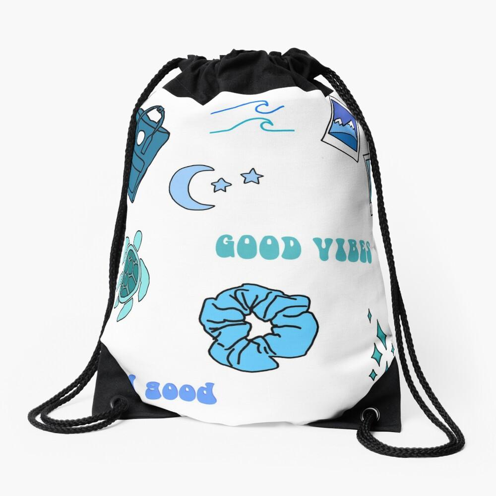 Blue Vsco Girl Sticker Packet Drawstring Bag