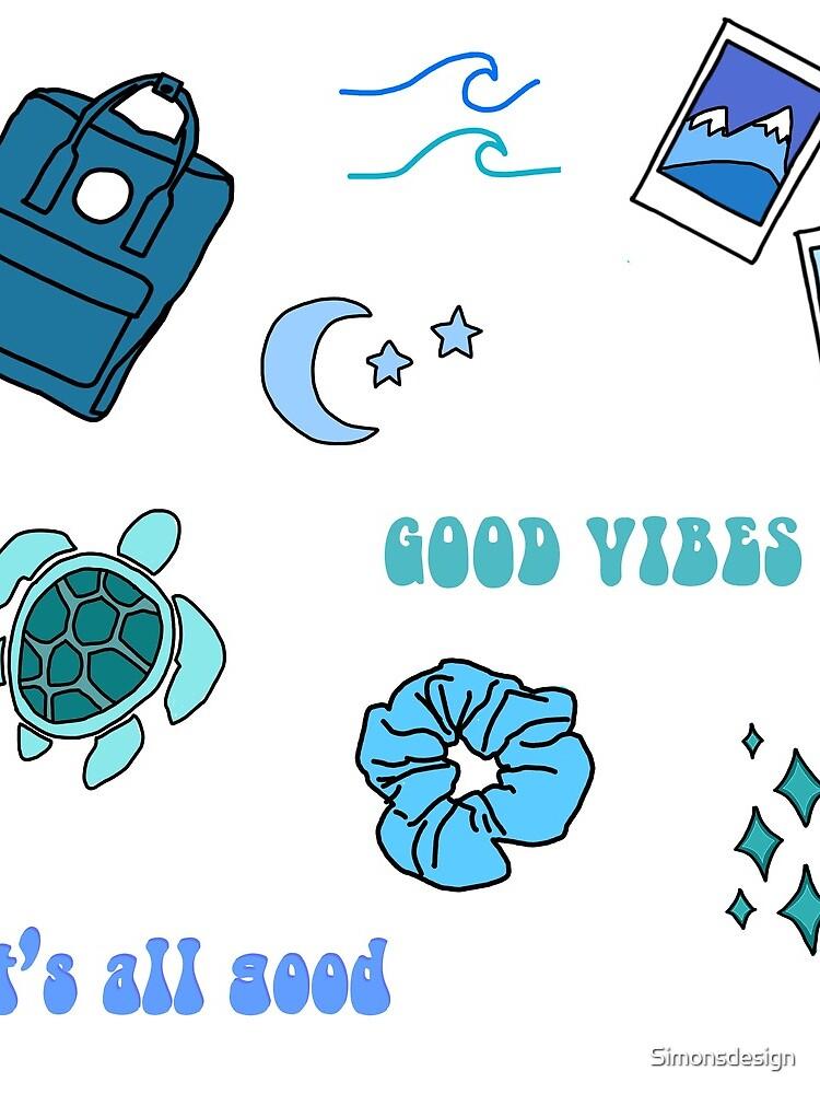 Blue Vsco Girl Sticker Packet by Simonsdesign