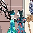 Myrtle and Effie, Art Deco Cats by sneercampaign