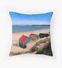 Abersoch beach hut Panoramic Throw Pillow