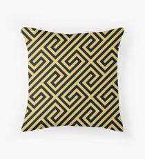 Black & Gold Greek Keys Geometric Pattern Throw Pillow