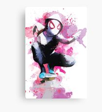 Spider-Gwen - Splatter Art Metal Print