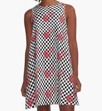 Heart Checkered Pattern A-Line Dress