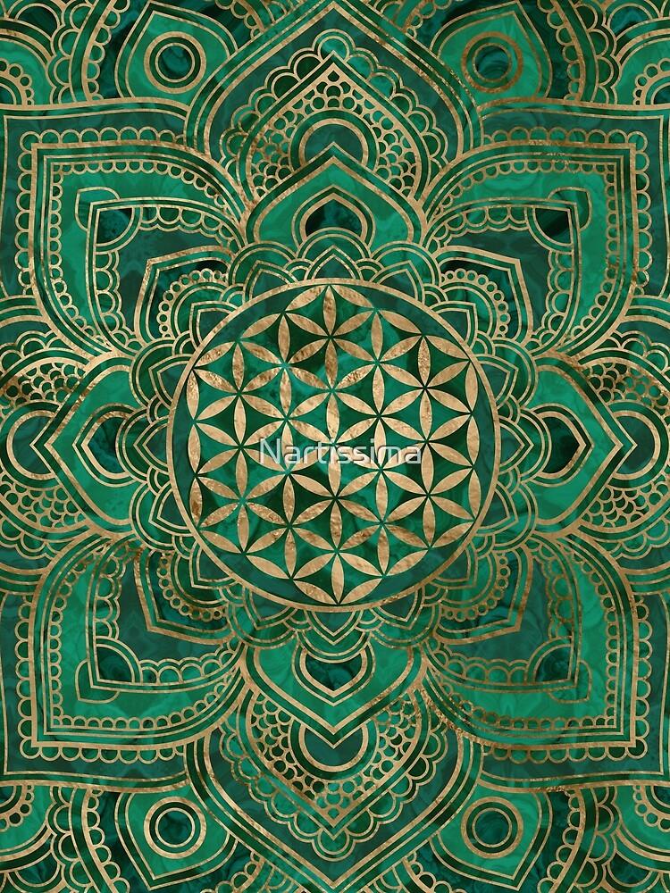 Blume des Lebens in Lotus - Malachit und Gold von Nartissima