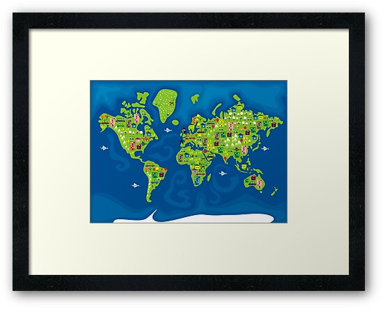 cartoon map of the world by Anastasiia Kucherenko