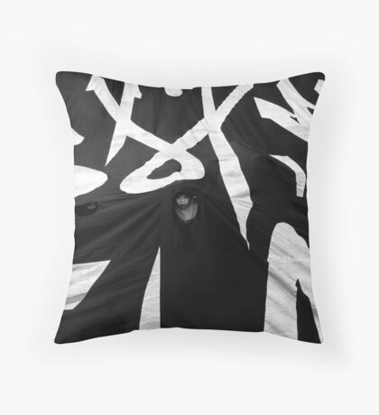 Young Face Behind The Banner Throw Pillow