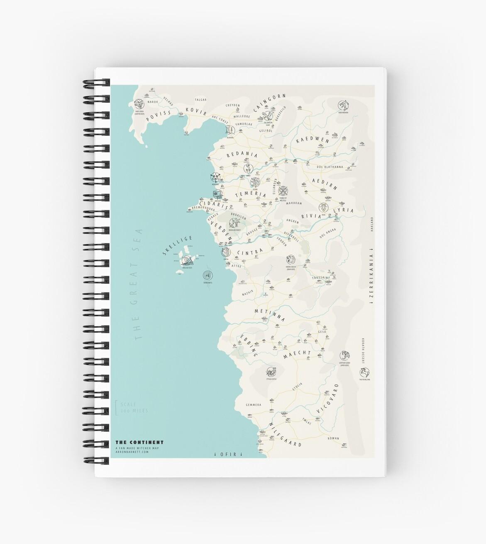 \'Illustrated Witcher World Map\' Spiral Notebook by Arron Barnett