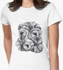 Compass - Barn Owls and Hibiscus Flowers Womens Fitted T-Shirt