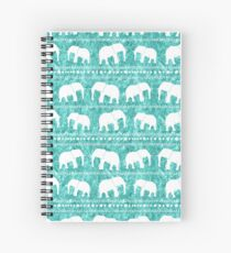 Elephant tribal turquoise water color Spiral Notebook