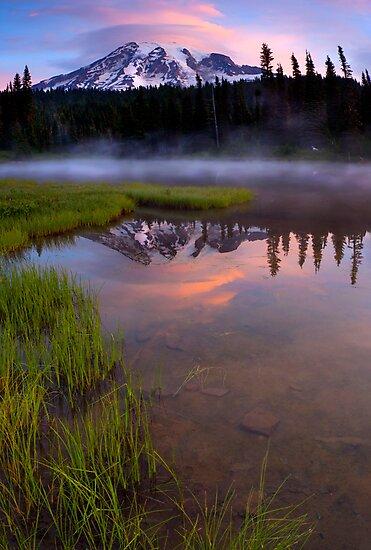 Rainier Sunrise Cap by DawsonImages