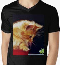 Cat On Red Tin Mens V-Neck T-Shirt