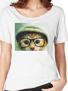 Vintage Cat Wearing Glasses Women's Relaxed Fit T-Shirt