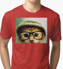 Vintage Cat Wearing Glasses Tri-blend T-Shirt