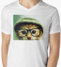 Vintage Cat Wearing Glasses Men's V-Neck T-Shirt