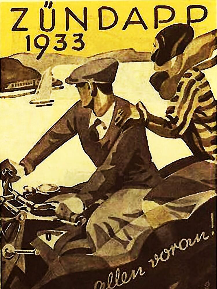 Vintage motorcycle...Zundapp 1933 advertising. by edsimoneit