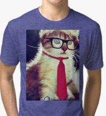 Cute Executive Cat Tri-blend T-Shirt