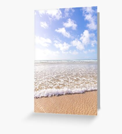 Wave washes in at Gwithian Sands, Cornwall, UK Greeting Card