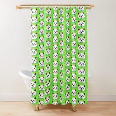 A Pleased Panda Bear Shower Curtain