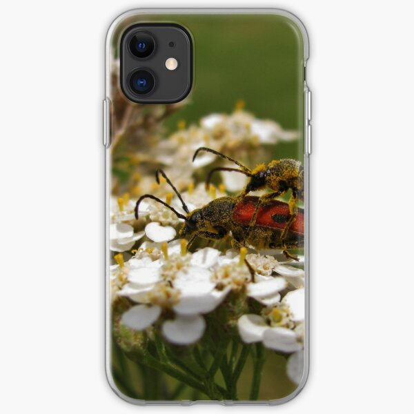 Longhorned beetles mating on Yarrow iPhone Soft Case