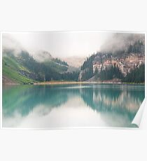 Misty morning at Lake Louise Poster