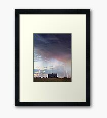 Pink Lightning On the Prairie Portrait Framed Print
