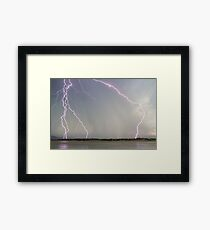Positive Pink Lightning Strikes Framed Print