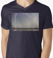 Positive Pink Lightning Strikes Men's V-Neck T-Shirt