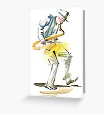 Saxophone Musician art Greeting Card